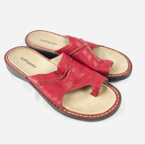 Softspots one toe loop red leather slide sandals